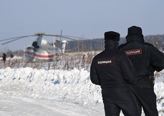 Polícia no município de Ramensky da região de Moscou onde caiu o avião An-148