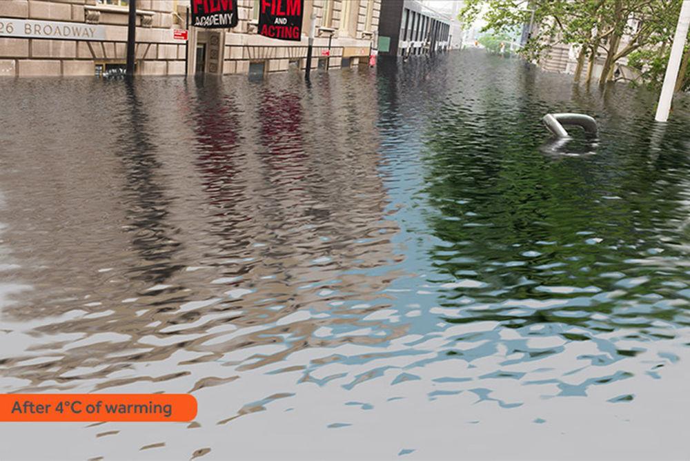 Com tanta água, ninguém poderia visitar os famosos teatros da Broadway em Nova York