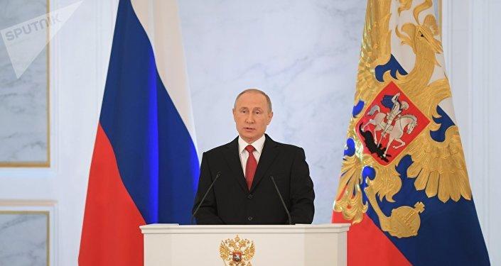 Presidente da Rússia, Vladimir Putin, fala perante a Assembleia Federal russa, em  Moscou, em 1 de dezembro de 2016
