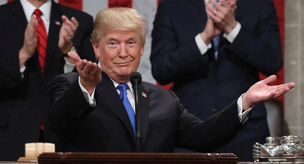 Donald Trump durante seu primeiro discurso do estado da União, em 30 de janeiro de 2018.