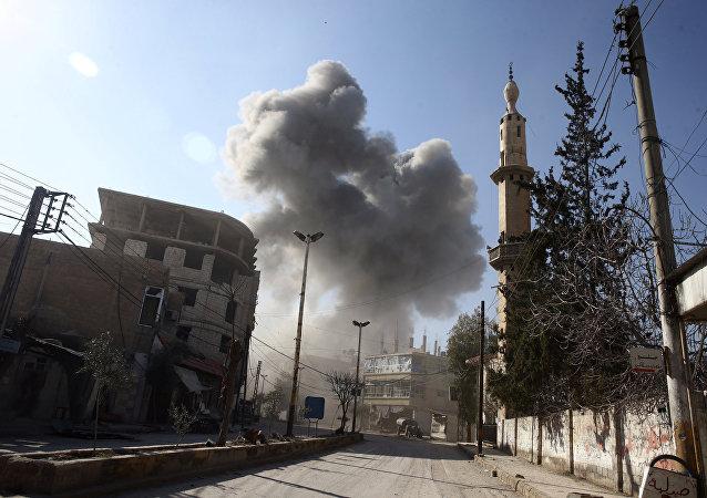 Fumaça em Ghouta Oriental (foto de arquivo)