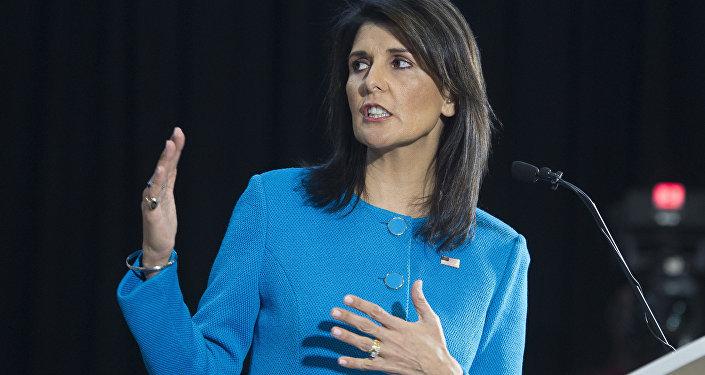Embaixadora da ONU dos EUA, Nikki Haley, durante conferência em Washington