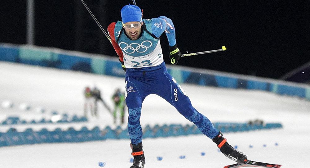 Atleta francês, Martin Fourcade, durante prova de biatlo nos Jogos Olímpicos de Inverno,em Pyeongchang, Coreia do Sul.