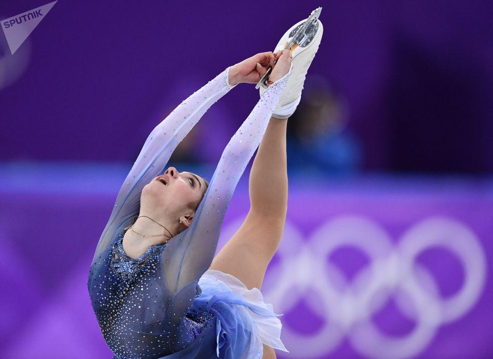 Atleta russa de patinação artística Yevgenia Medvedeva durante as Olimpíadas de Inverno 2018 em PyeongChang