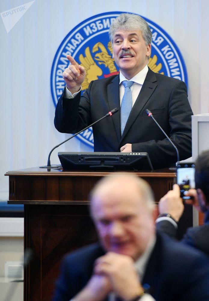 Pavel Grudinin registra sua candidatura à Presidência na Comissão Central Eleitoral da Rússia