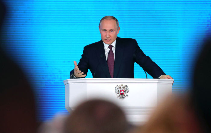 Vladimir Putin faz seu discurso anual perante a Assembleia Federal, em Moscou, no 1 de março de 2018