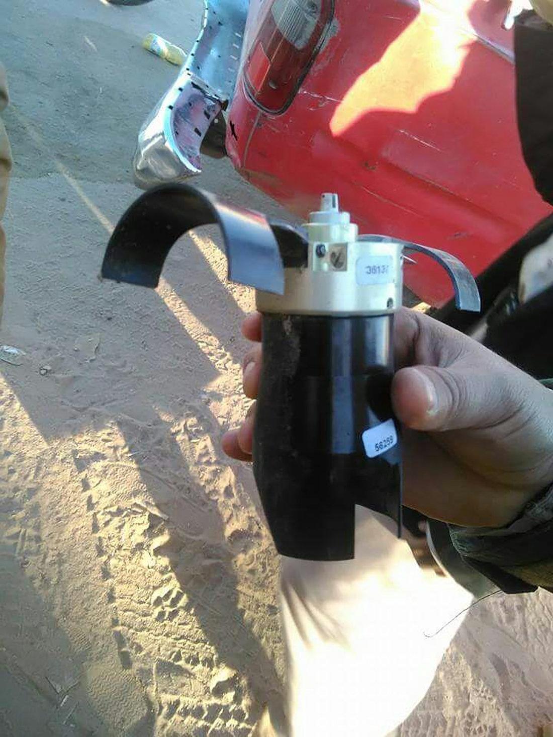 Sub-munição encontrada em um míssil Astros II, de fabricação brasileira, após um ataque da coalizão saudita no Iêmen em dezembro de 2016