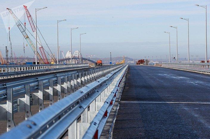 A parte já terminada da ponte da Crimeia