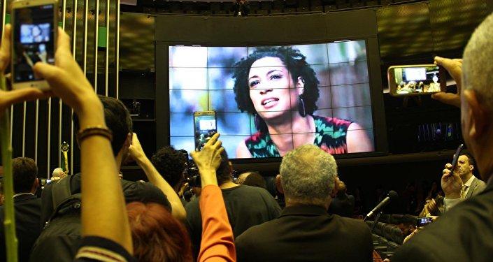 Ato no plenário da Câmara Federal em repúdio ao assassinato da vereadora Marielle Franco, do PSOL-RJ
