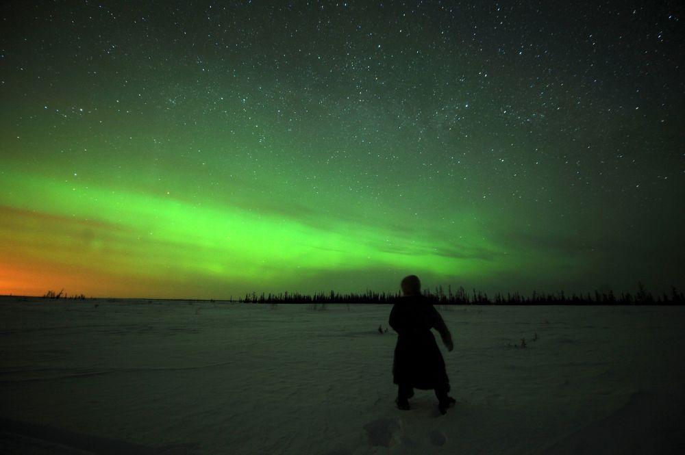Aurora boreal na cidade russa de Nadym