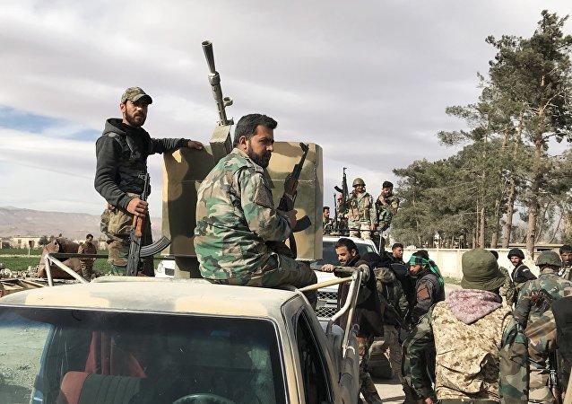 Soldados sírios em Ghouta Oriental