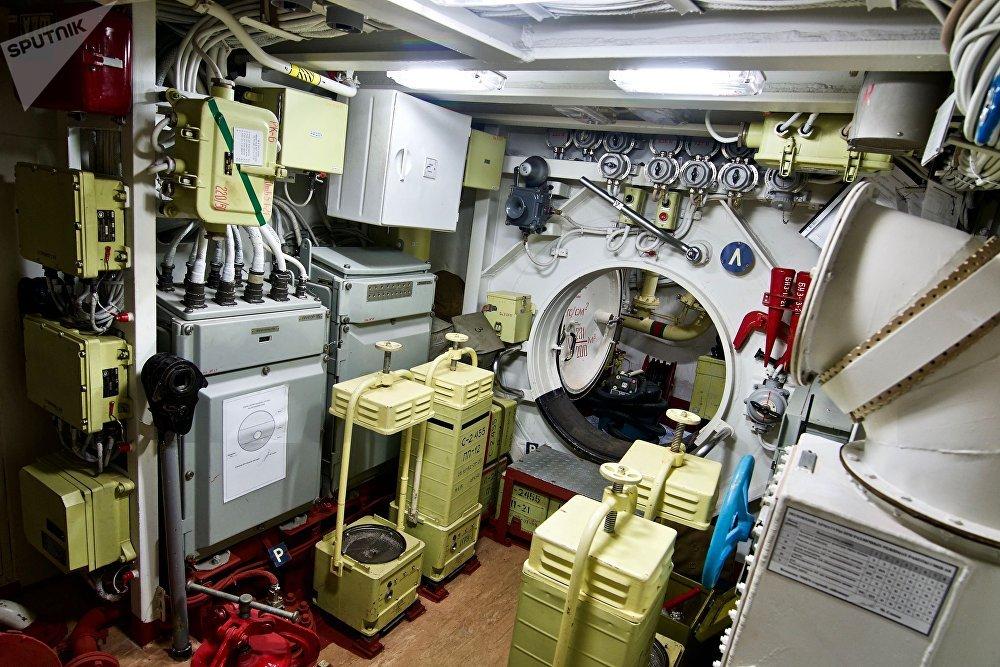 Um dos compartimentos do submarino Novorossiysk