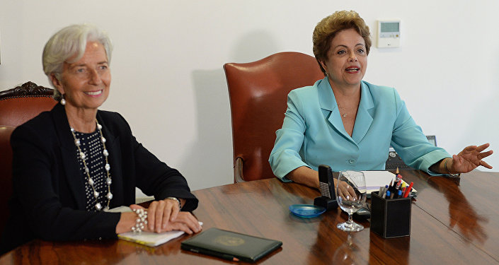 Christine Lagarde e Dilma Rousseff durante encontro no Palácio do Planalto, em Brasília, nesta quinta-feira (21)