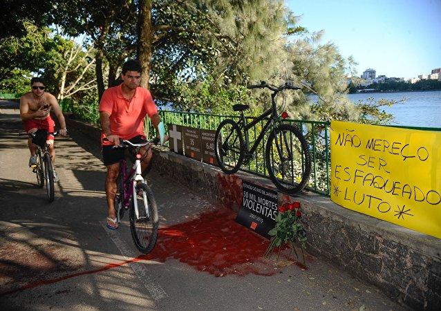 Protesto da ONG Rio de Paz pela morte do médico Jaime Gold, 56 anos, esfaqueado em um assalto na Lagoa Rodrigo de Freitas