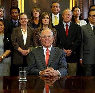Presidente peruano, Pedro Pablo Kuczynski, durante a mensagem à nação sobre sua renúncia