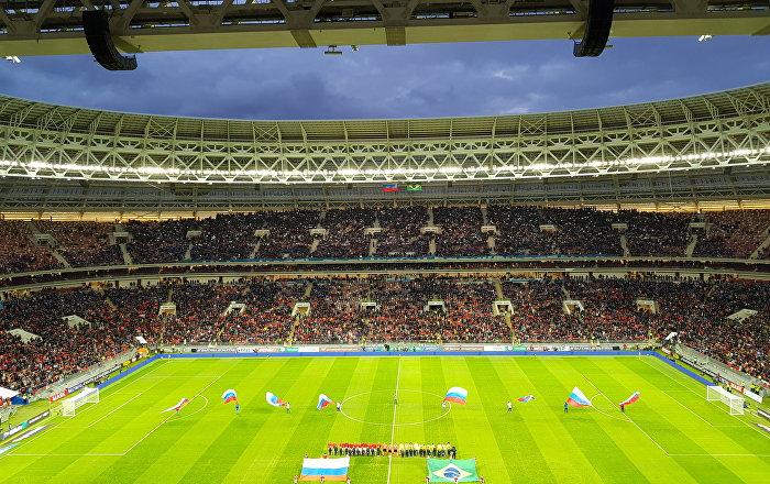 No estádio Luzhniki minutos antes do início do amistoso Rússia X Brasil