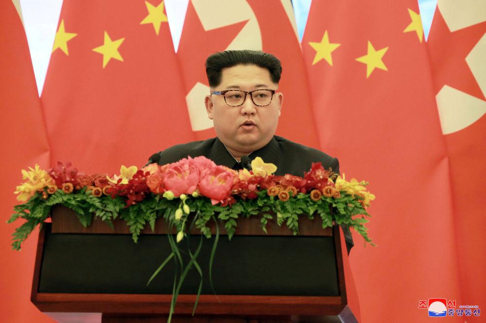 Líder norte-coreano, Kim Jong-un, discursa no âmbito da sua visita não oficial a Pequim, entre 25 e 28 de março de 2018