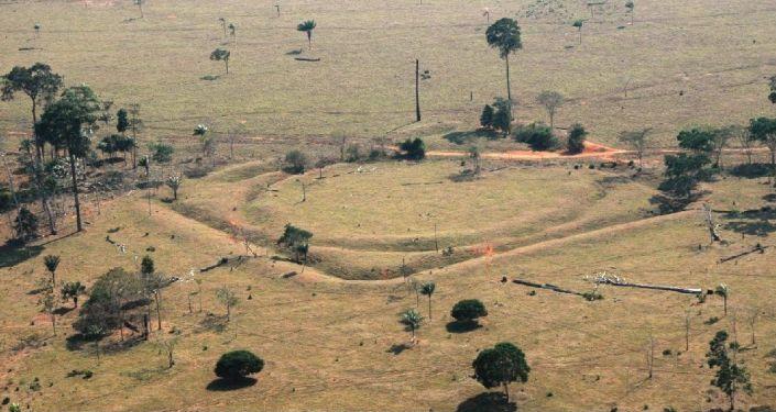 Vestígios encontrados na Amazônia pelos arqueólogos da Universidade de Exeter