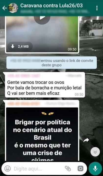 Conversas de whatsapp indicam que ataque a ônibus da Caravana do ex-presidente Lula tenha sido planejado