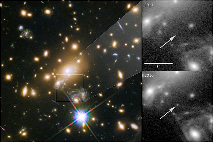 Estrela MACS J1149+2223 conhecida também como Icarus