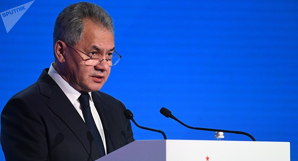 Ministro da Defesa da Rússia, Sergei Shoigu, durante a cerimônia de abertura da VII Conferência de Segurança de Moscou (arquivo)