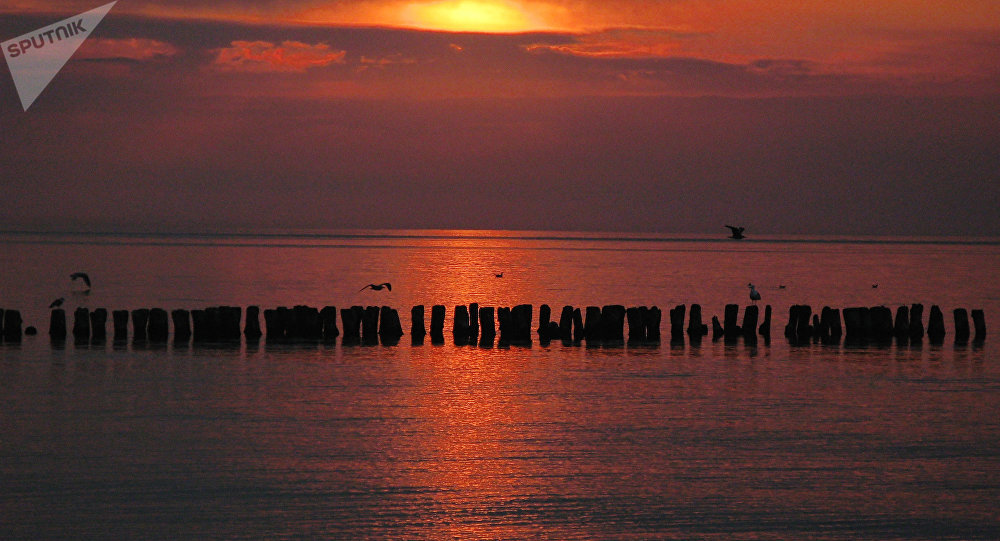 Costa do mar Báltico na cidade russa de Svetlogorsk