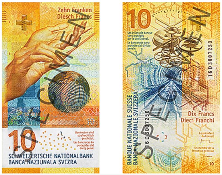 Cédula suíça de 10 francos