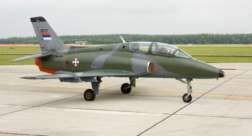 Avião de assalto sérvio SOKO G-4 Super Galeb, foto de arquivo
