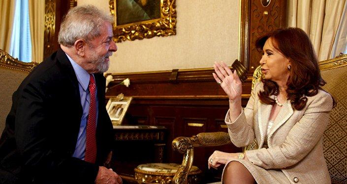Encontro entre os ex-presidentes Luiz Inácio Lula da Silva (Brasil) e Cristina Kirchner (Argentina)