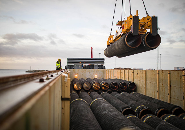 Tubulações para construção do gasoduto Nord Stream 2, Alemanha, 28 de fevereiro de 2018
