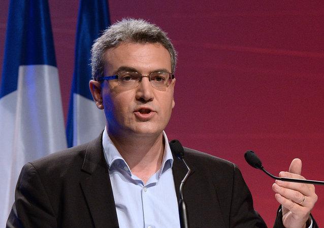 Líder do partido francês Frente Nacional (FN) quando era candidato ao Parlalento Europeu, em 18 de maio de 2014.