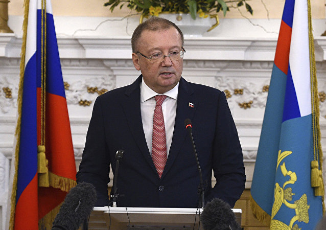 Russian ambassador Alexander Vladimirovich Yakovenko speaking at a news conference Thursday March 22, 2018, at his country's embassy in London in the aftermath of the Salisbury nerve agent attack on Russian double agent Sergei Skripal and his daughter Yulia.