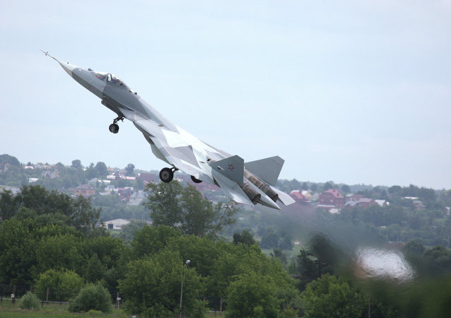 Test flight of T-50, fifth generation fighter aircraft designed by Sukhoi OKB