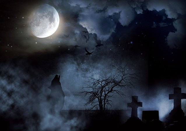 Lobo em um cemitério uivando para a Lua (imagem artística)
