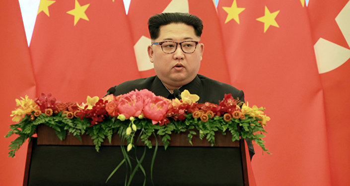 Líder da Coreia do Norte, Kim Jong Un discursa durante viagem a Pequim, China