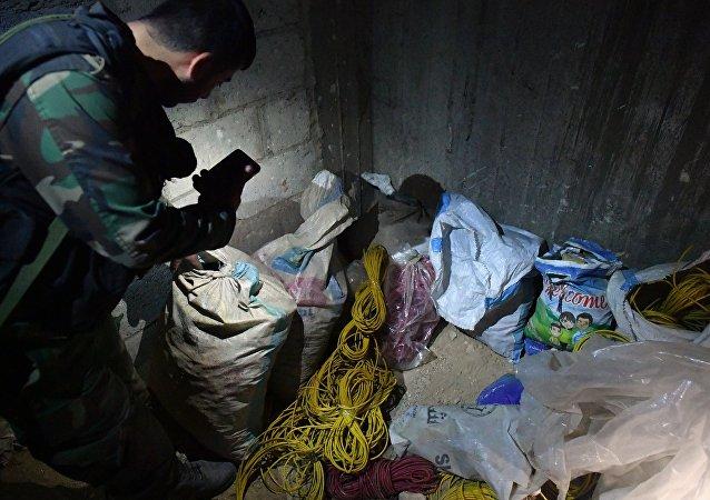 Laboratório químico de militantes na cidade síria de Douma