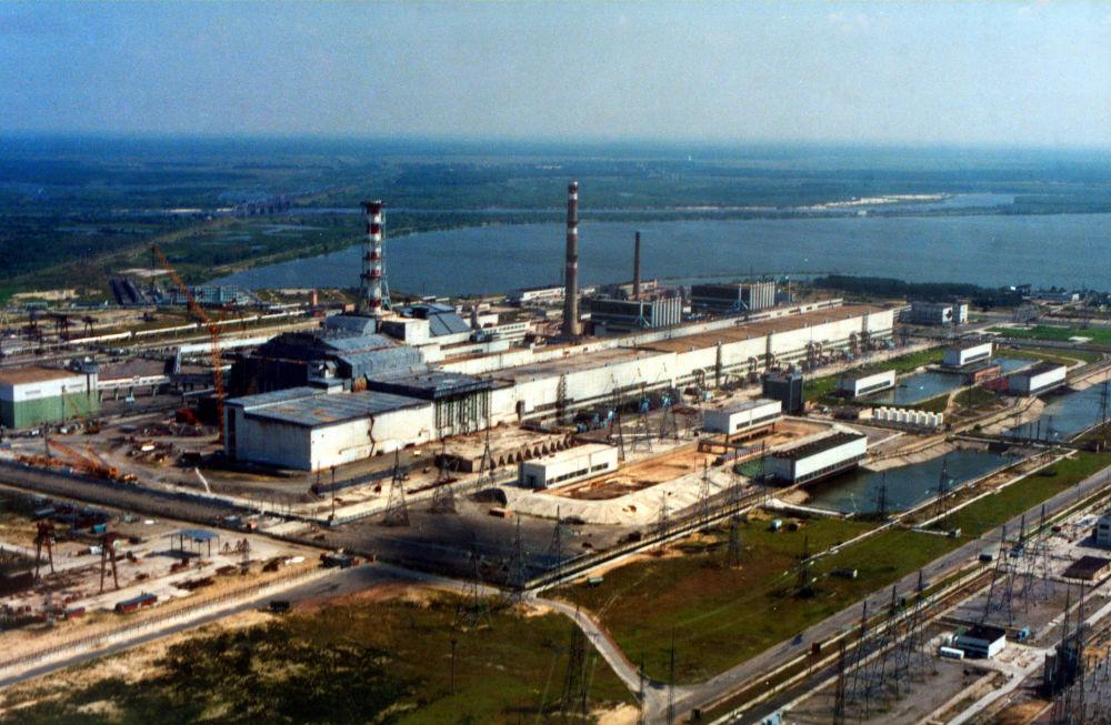 Vista aérea da Usina Nuclear de Chernobyl, Ucrânia, 2007
