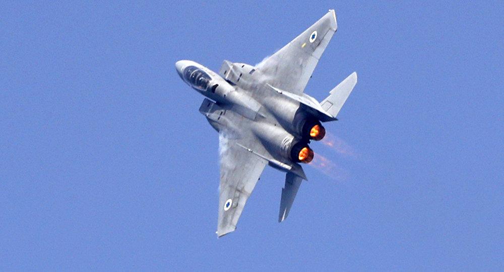 Caça F-15 israelense durante um show aéreo por ocasião do 70º aniversário da criação do Estado de Israel, Tel Aviv, 12 de abril de 2018