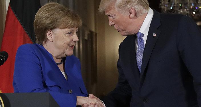 Donald Trump, presidente dos Estados Unidos, recebe a chanceler alemã, Angela Merkel, na Casa Branca