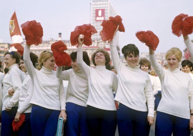 Parada de fisiculturismo na Praça Vermelha no Dia Internacional dos Trabalhadores, em 1º de maio, em 1969
