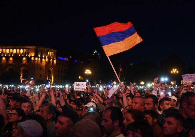 Protestos populares na Armênia, em abril de 2018