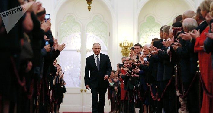 Vladimir Putin durante cerimônia solene de posse no Kremlin, Moscou, 7 de maio de 2018