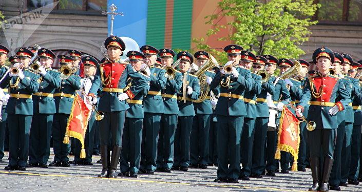 Músicos militares começam a 73ª Parada da Vitória, na Praça Vermelha, em 9 de maio de 2018