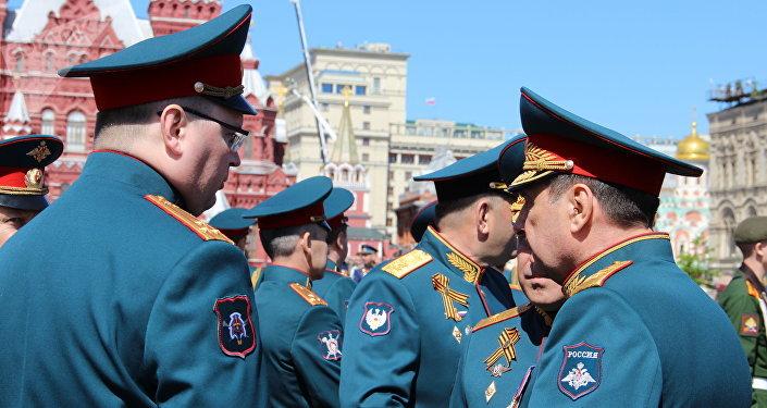 Militares participantes da 73ª Parada da Vitória, na Praça Vermelha, em 9 de maio de 2018
