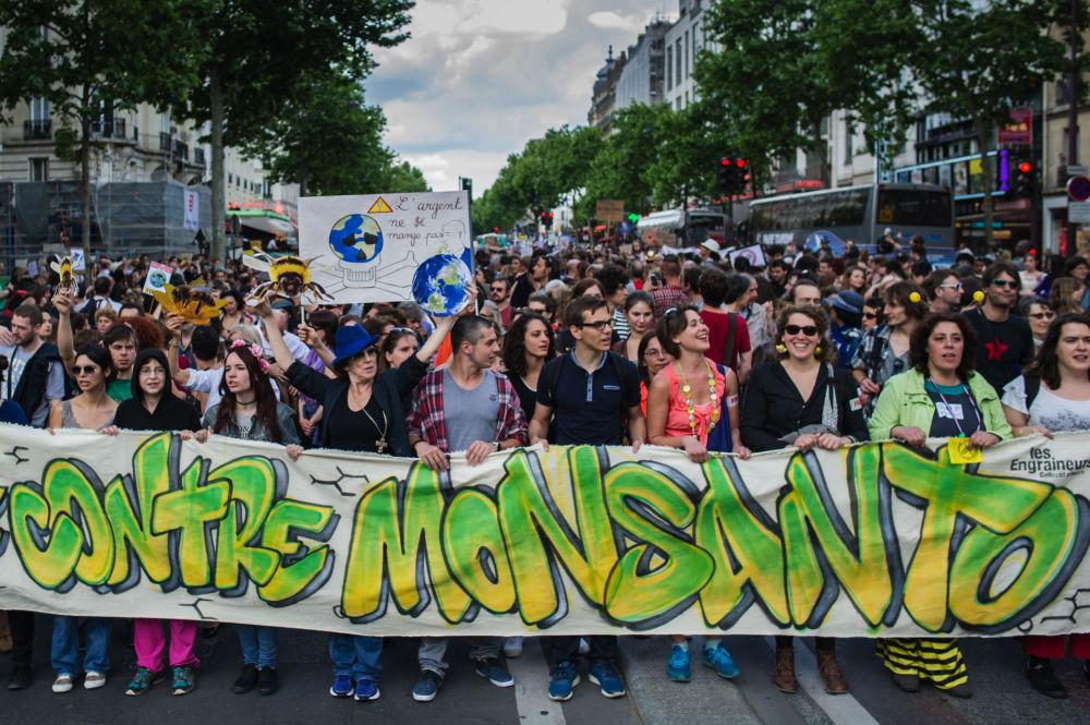 Participantes de protesto contra os alimentos trasgênicos durante a minifestação em Paris.