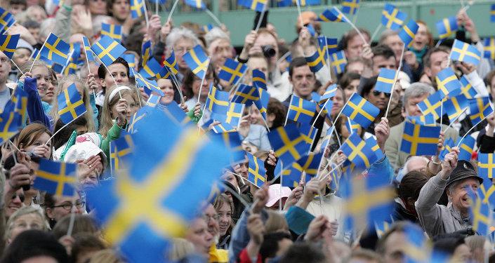 Manifestação política na Suécia.