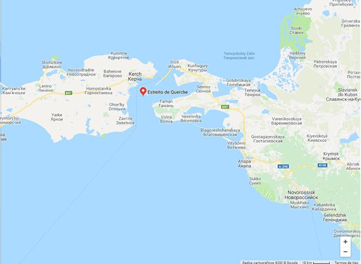 Captura da imagem do Google Maps do estreito de Kerch, na Crimeia, Rússia, 16 de maio de 2018