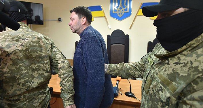 Chefe da agência de notícias RIA Novosti Ucrânia, Kirill Vyshinsky, no Tribunal de Kherson, na Ucrânia, em 17 de maio de 2018