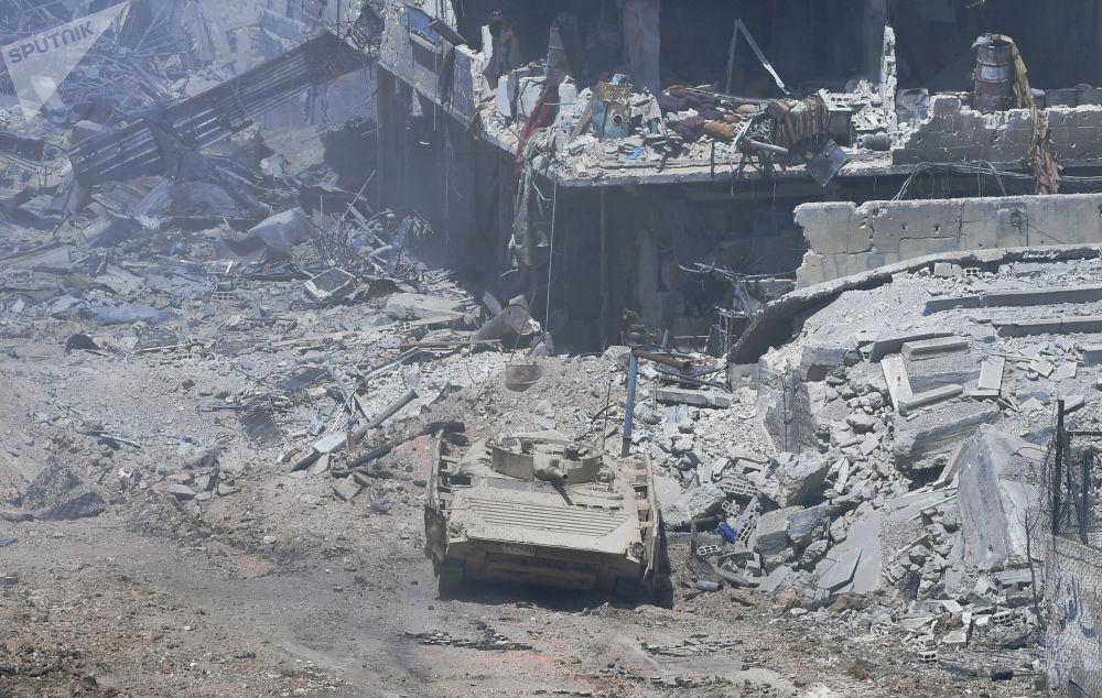 Área do antigo campo de refugiados palestinos Yarmouk, atacada pela organização terrorista Daesh (grupo proibido na Rússia)