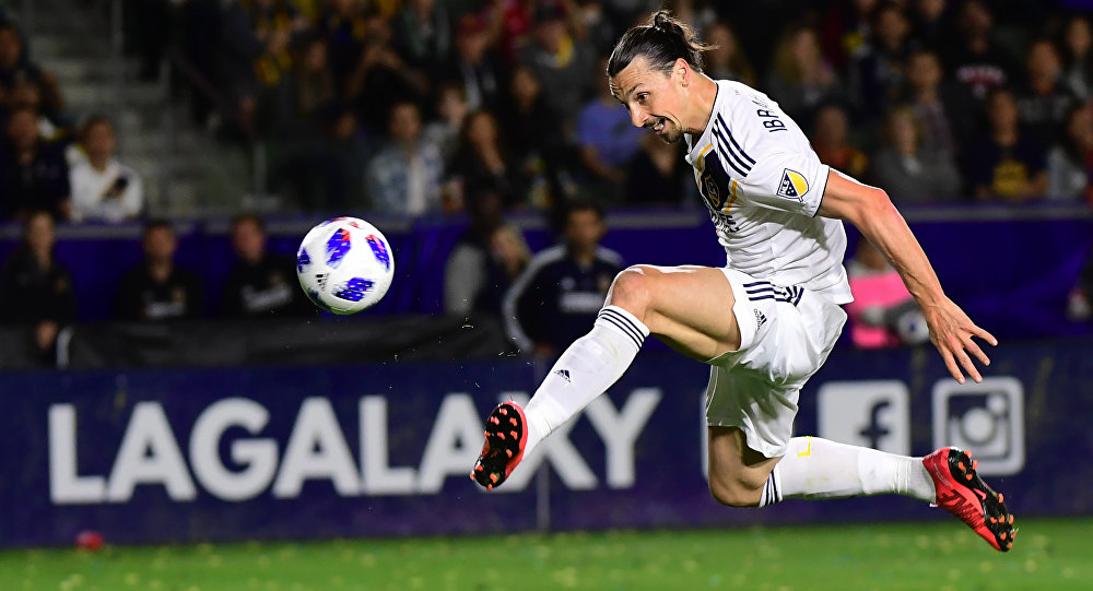 Zlatan Ibrahimovic, do LA Galaxy, em partida contra o New York Red Bulls, em 28 de abril de 2018